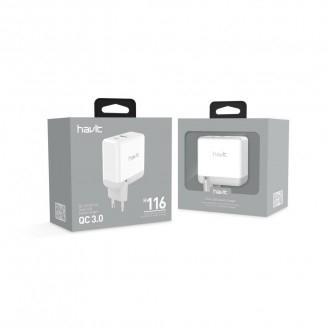 Швидкий зарядний пристрій HAVIT HV-H116, USB+Type-C, QC3.0