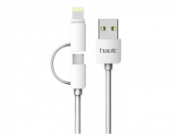 Кабель HAVIT HV-CB610X Micro USB + Lightning 1м, White